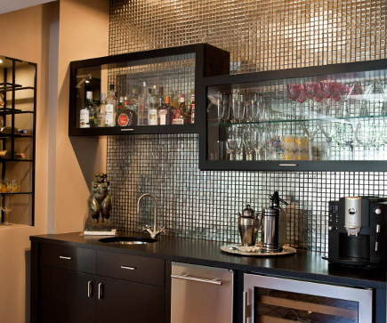 beverage bars - built in mid-century style beverage bar by HammerSmith via atticmag