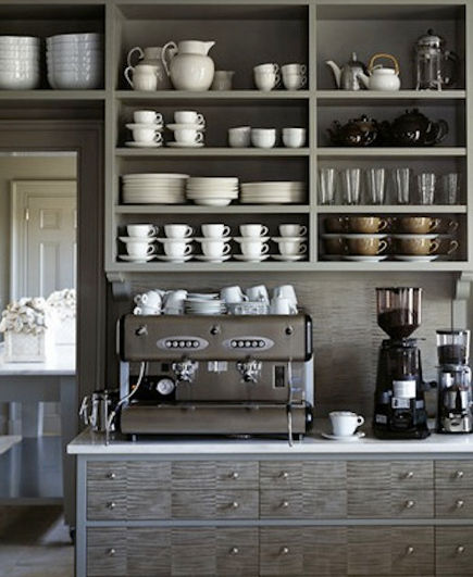 beverage bars - Martha Stewart's built in cappuccino beverage bar - Martha Stewart Living via Atticmag