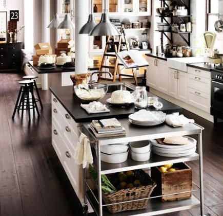 kitchen island tables - rolling cart that extends a kitchen island - Ikea via Atticmag