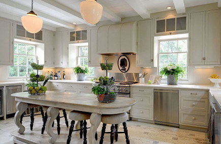 Kitchen by Bill Litchfield designs with oval table-shaped kitchen island variation - via atticmag