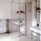 glass enclosed shower in wetroom bath in a renovated old Italian house - architectural digest via atticmag