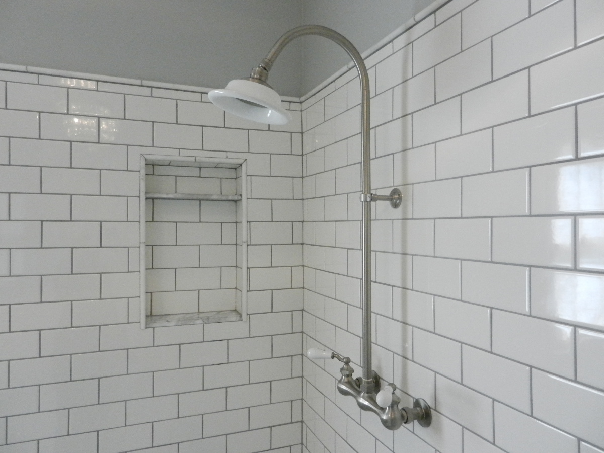 White Subway Tile Shower With Exposed Set In Master Bath Redo Atticmag