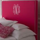 Bedroom monograms can include Horchow's Emporia monogrammed headboard - Horchow via Atticmag