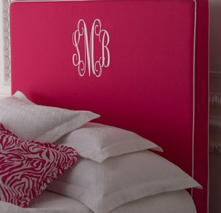 Bedroom monograms can include Horchow's Emporia monogrammed headboard - Horchow via Atticmag