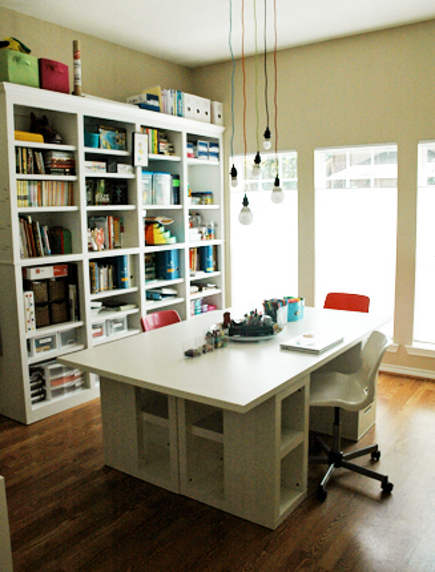 Crafts Room Ideas   Large Work Table Assembled From Ikea Tops, Drawers And  Shelving Units