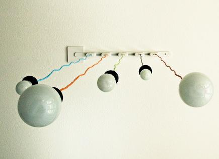 crafts room ideas - track lighting with hanging pendant bulbs - pioneerwoman via atticmag