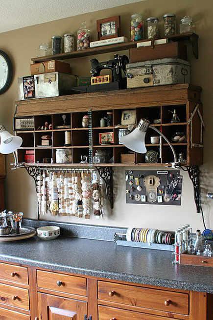 crafts room ideas - vintage oak cubby used for craft room storage - mamiejanes via atticmag