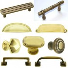 collection of brass cabinet hardware pulls and knobs - atticmag