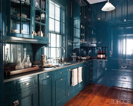 Large Hague Blue full-gloss butler's pantry designed by Miles Redd - elledecor via atticmag