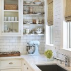 kitchen design ideas - floating stainless steel open kitchen shelving - taste design via atticmag