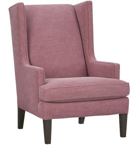accent colors - Luxe wing chair in dusty rose from Crate and Barrel via Atticmag