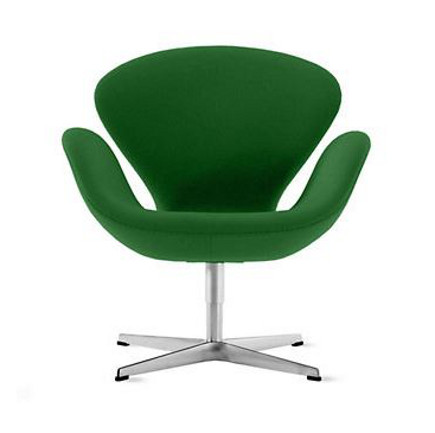 accent colors grass green Arne Jacobsen Swan chair from design within reach via Atticmag