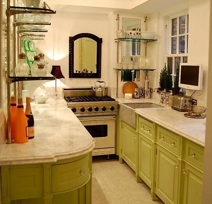 apple green galley kitchen by Greeson and Fast Design - via atticmag