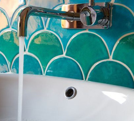 scallop tile bathroom - blue and green scallop shape glazed tiles on a bathroom wall by Camilla Molders via atticmag