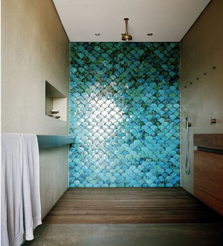scallop tile bathroom - turquoise and blue scallop tile wall in a contemporary shower - desire to inspire via Atticmag