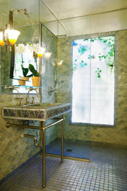 scallop tile bathroom - scallop tiles facing down in a Virginia bathroom - northern virginia mag via atticmag