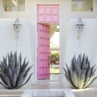 pink front door - pink painted modern entrance door - Moises Esquenazi via Atticmag