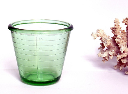 green Depression glass measuring cups - country living via atticmag