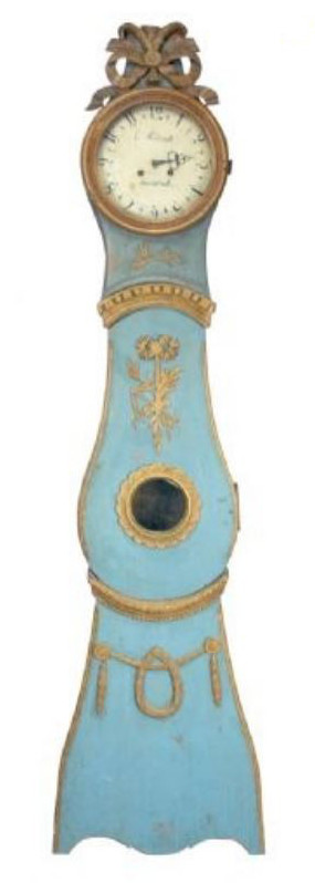 sky blue Swedish Rococo clock with ribbon crown and garland on base