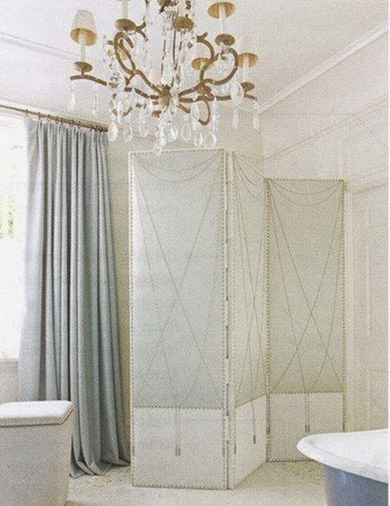bathroom screening ideas - silk covered floor screen in bathroom by Pursley Dixon Architecture via atticmag