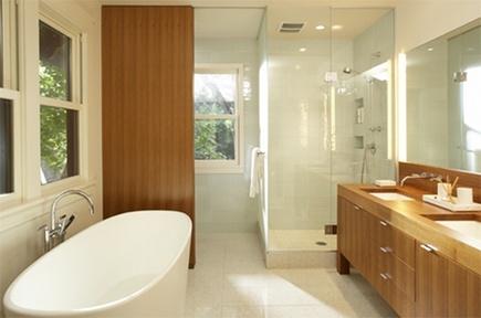 bathroom screening ideas - floor to ceiling wood panel concealing commode -flside via atticmag