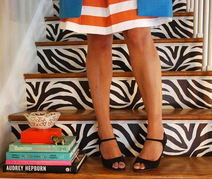 staircase patterns with black and white zebra print on the risers - highheeled foot in the door via Atticmag