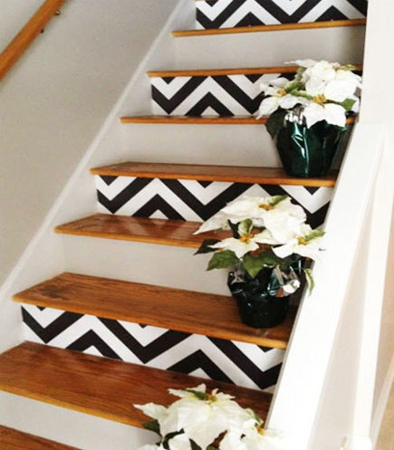 staircase patterns with black and white chevron print on the risers - simple dwellings via Atticmag
