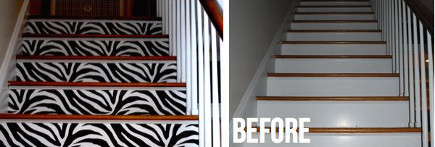 before and after staircase patterns with black and white zebra print on the risers - highheeled foot in the door via atticmag