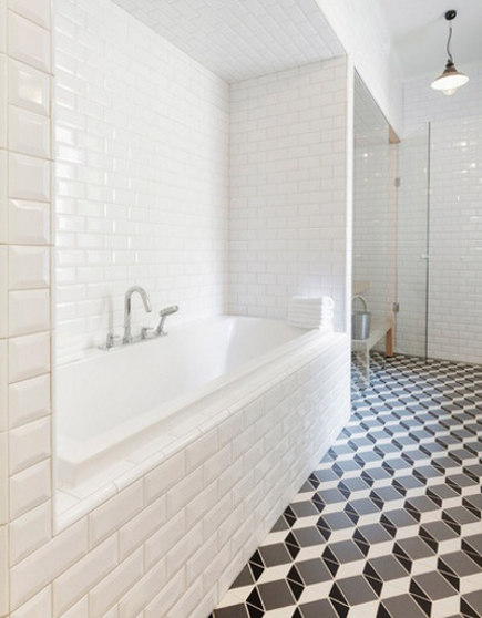 black and white pattern floor - optical illusion geometric pattern floor in a bathroom by Linda Bergroth - decorpad via atticmag