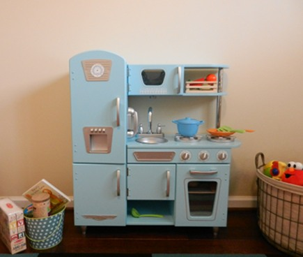 play kitchens - blue vintage style pretend play kitchen by KidKraft via atticmag