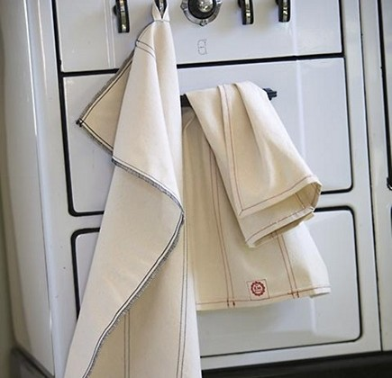 organic kitchen linens - towels by Raw Materials Design via Atticmag
