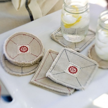organic kitchen linens - natural cotton coasters by Raw Materials Design via Atticmag