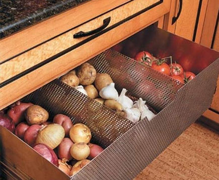 special kitchen features - stainless steel ventilated storage drawer - my home ideas.com via atticmag