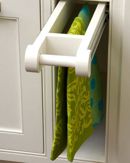 recessed dish towel pull out