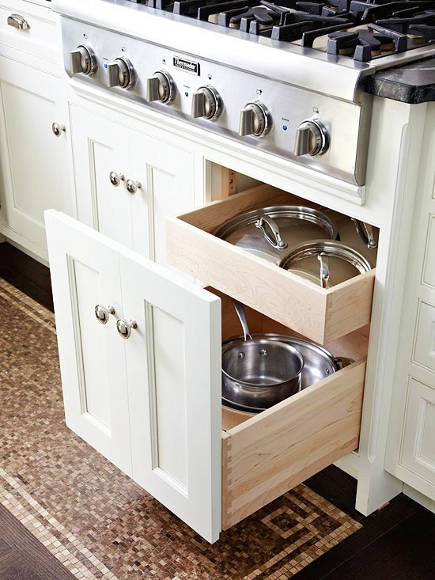 special kitchen features - double decker pot and lid storage drawer with faux front - bh&g via atticmag