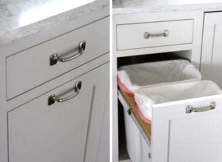 special kitchen features - cutting board pull out over a garbage bin - thefarmchicks via Atticmag