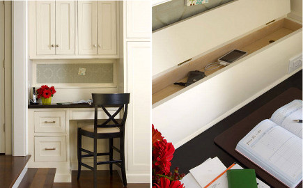 special kitchen features - kitchen desk drawer charging station - via Atticmag