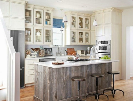 barn wood kitchens - barnwood-planked island in the white 2010 Country Living show house - via Atticmag