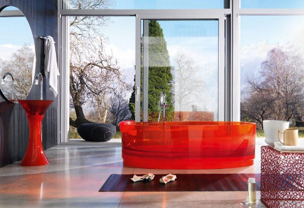 colored bathtubs - Regia red ice glass transparent bath tub with matching pedestal sink via atticmag