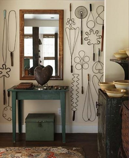 displaying collections - collection of vintage wire rug beaters - new england home via atticmag