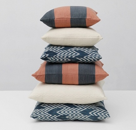 artisan home decor - naturally dyed cotton decorative pillows from Grain Design via atticmag