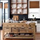 kitchen work table - pine kitchen stone top island from Williams-Sonoma via atticmag
