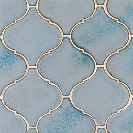 kitchen backsplash tile - Ann Sacks Nottingham arabesque tile in blue mist - via atticmag