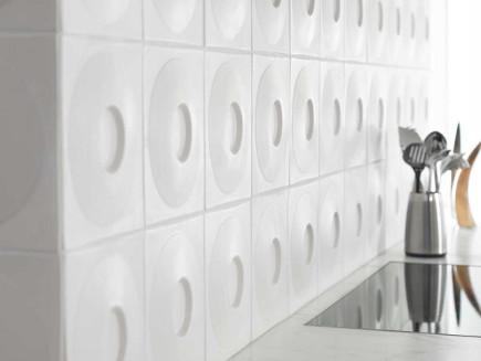 kitchen backsplash tile - Ann Sacks Andy Blick Discus matte white tile- via atticmag