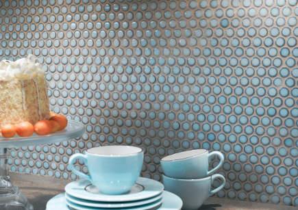 kitchen backsplash tile - Ann Sacks Savoy pennyround tile in cornflower blue - via atticmag