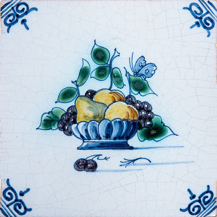 kitchen backsplash tile - Country Floors Delft Royal Makkum Fruit basket tile - via atticmag