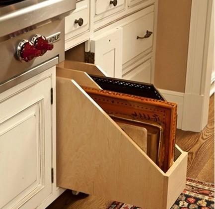 kitchen cabinet ideas - horizontal divided tray storage kitchen cabinet - kent kitchen works via atticmag