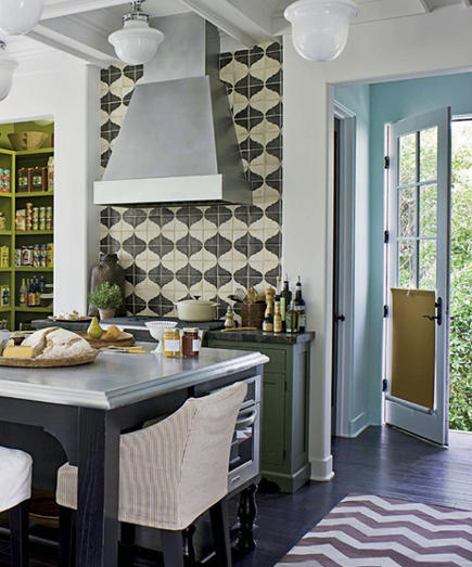 kitchen pattern - gray and white lantern pattern tile backsplash behind the range and gray and white zig-zag rug - cindab via atticmag