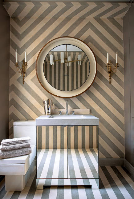 gray and white striped interiors - powder room by Jean-Louis Deniot via atticmag