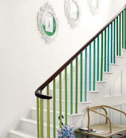 colorful painted staircases - white staircase with gradient green to blue spindles - inspiration green via terrys fabrics and atticmag